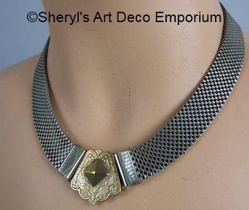 1930s silvertone mesh decorative clasp choker wrongly identified as Bengel