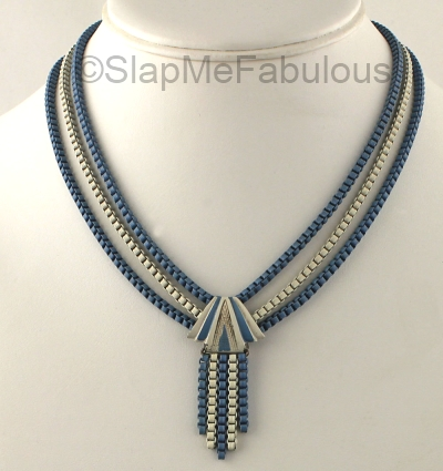 art deco blue and white enamel fringe necklace