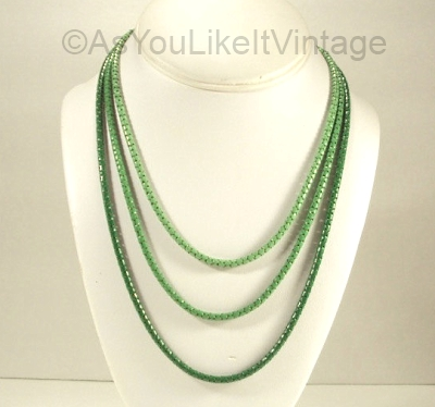 1930s green triple snake chain enamel necklace
