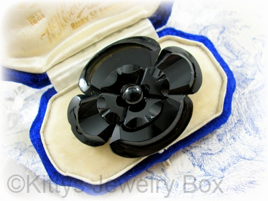 antique black vauxhall glass mourning brooch at KITTYSJEWELRYBOX on Etsy