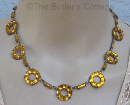 art deco amber vauxhall glass necklace at THEBUTLERSCOTTAGE on Etsy