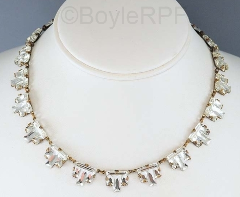 art deco clear step vauxhall glass necklace from BOYLERPF on Etsy
