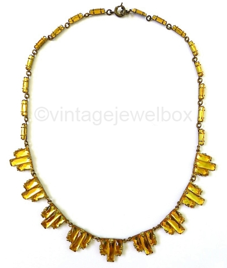 art deco gold vauxhall glass step necklace at VINTAGEJEWELBOX on Etsy