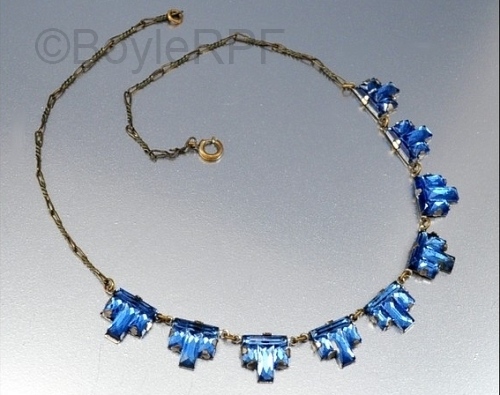 blue art deco step vauxhall glass necklace from BOYLERPF on Etsy