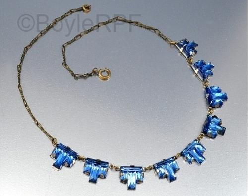 blue art deco step vauxhall glass necklace from BOYLERPF on Etsy