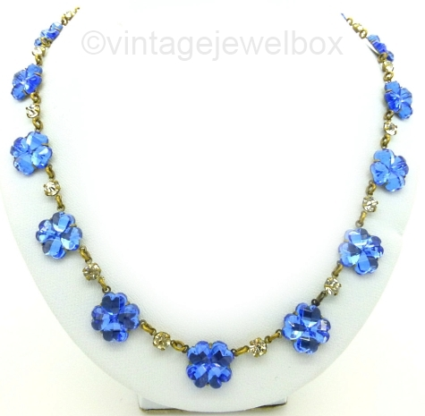 blue flower vauxhall glass necklace at VINTAGEJEWELBOX on Etsy