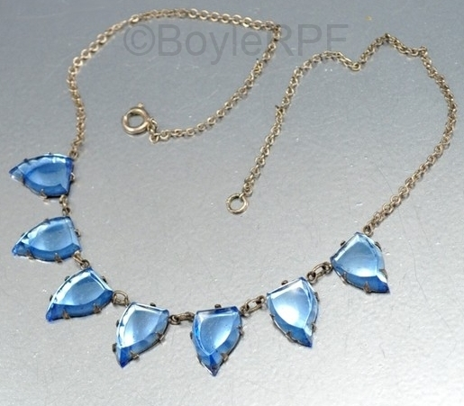 blue leaf shape art deco vauxhall glass necklace from BOYLERPF on Etsy