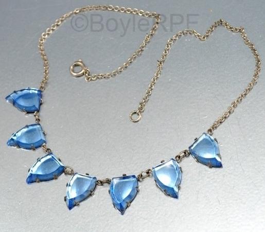 blue leaf shape art deco vauxhall glass necklace from BOYLERPF on Etsy