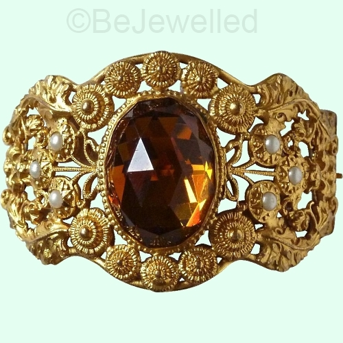 ornate vintage vauxhall glass cuff bracelet at BEJEWELLED on Ruby Lane