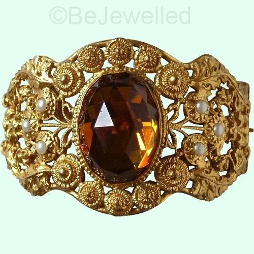 ornate vintage vauxhall glass cuff bracelet at BEJEWELLED on Ruby Lane