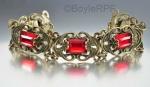 vintage red vauxhall glass and ornate brass art deco bracelet at BoyleRPF on Etsy