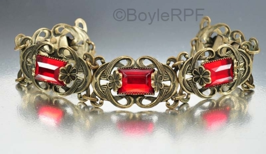 vintage red vauxhall glass and ornate brass art deco bracelet at BoyleRPF on Etsy