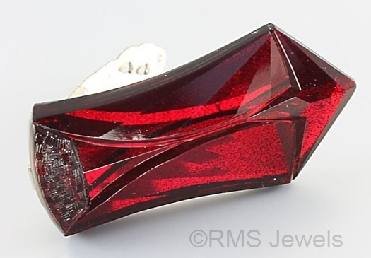 red vauxhall glass art deco dress clip at RMS JEWELS on Etsy