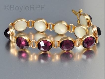 reversible vintage vauxhall glass and pearl bracelet from BoyleRPF on Etsy