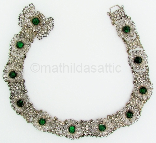 silver filigree and green vauxhall glass vintage belt at MATHILDASATTIC on Etsy