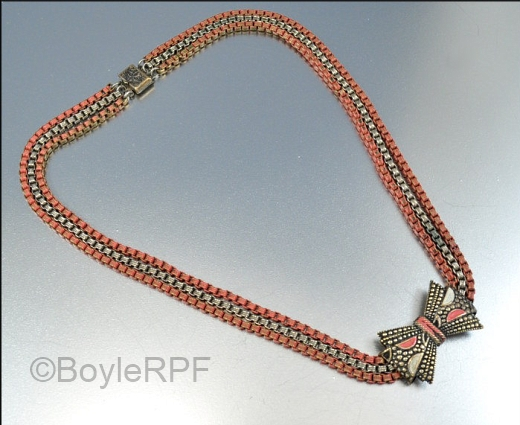 vintage 1930s art deco pink enamel box chain bow necklace from BoyleRPF