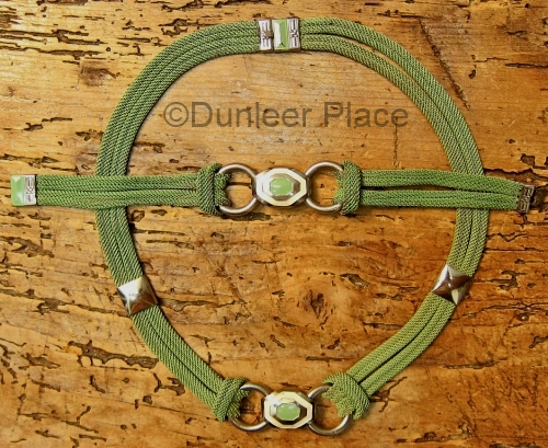 vintage 1930s green enamel mesh chain necklace and bracelet set at Dunleer Place on Etsy