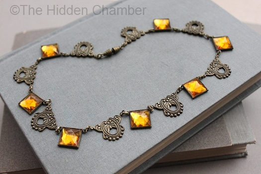 vintage art deco citrine vauxhall glass necklace at THE HIDDEN CHAMBER on Etsy