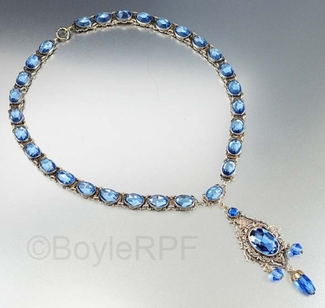 vintage blue czech vauxhall glass pendant necklace from BOYLERPF on Etsy