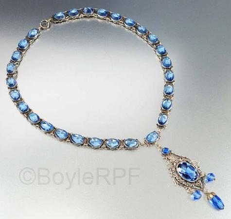 vintage blue czech vauxhall glass pendant necklace from BOYLERPF on Etsy
