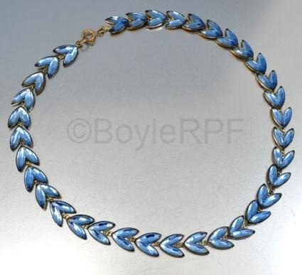 vintage blue laurel leaf vauxhall glass necklace from BOYLERPF on Etsy