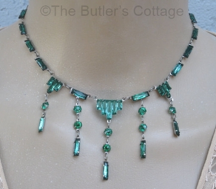 vintage czech blue green vauxhall glass statement necklace at THEBUTLERSCOTTAGE on Etsy