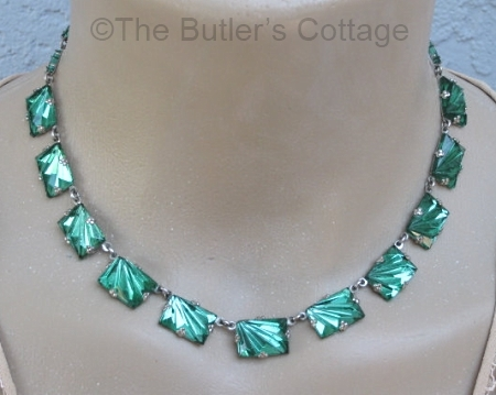 vintage czech blue green vauxhall glass necklace at THEBUTLERSCOTTAGE on Etsy
