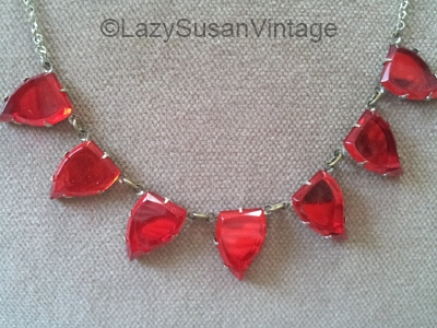 vintage red leaf shape vauxhall glass necklace at LazySusanVintage on Etsy