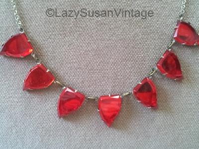 vintage red leaf shape vauxhall glass necklace at LazySusanVintage on Etsy