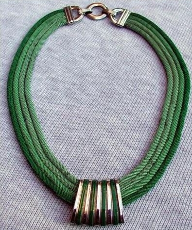 vintage 1930s deco multi strand green enamel mesh choker necklace