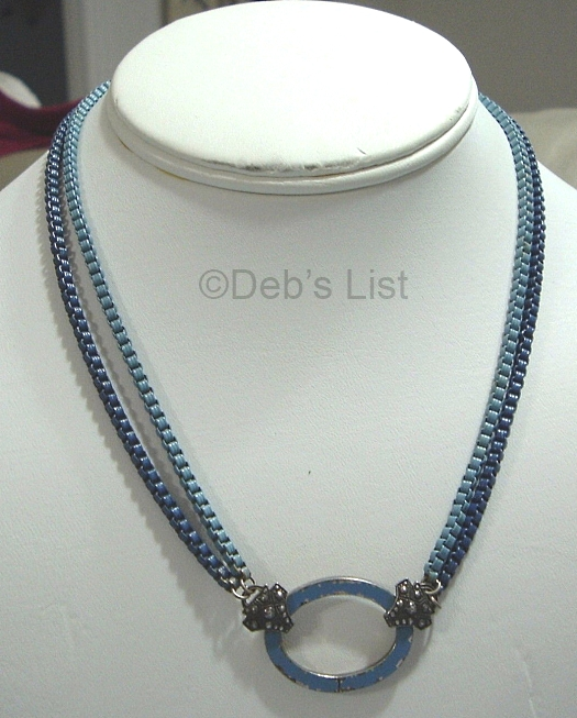 1930s deco double box chain blue enamel necklace