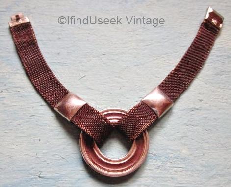 1930s deco brown enamel mesh chain bracelet
