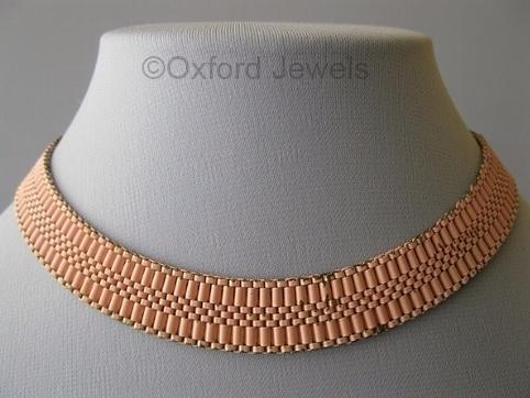 vintage 1930s deco pink enamel mesh choker necklace