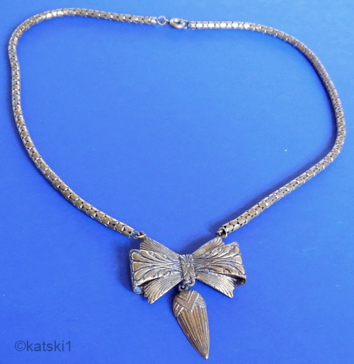 vintage 1930s art deco bow snake chain necklace