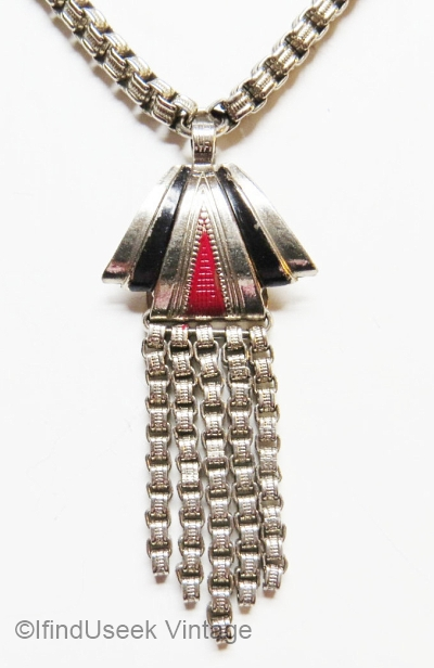 vintage art deco box chain red black enamel fringe necklace