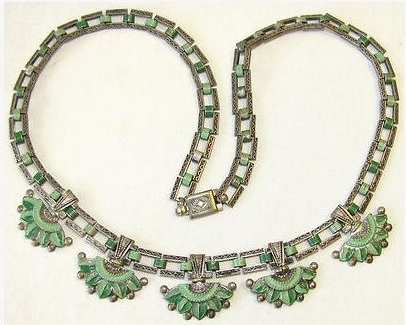 vintage 1930s art deco green enamel Egyptian revival lotus flower necklace