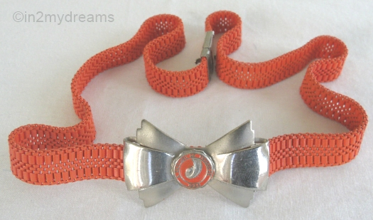 vintage 1930s art deco red enamel chicago worlds fair bow necklace