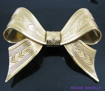 Forstner sterling vermail bow brooch at Danielles Vintage on Etsy