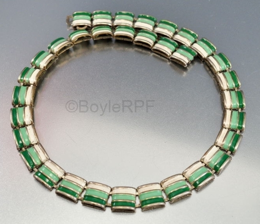 1930s green and white enamel art deco necklace