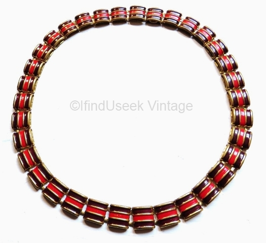 vintage 1930s art deco burgundy and red enamel necklace