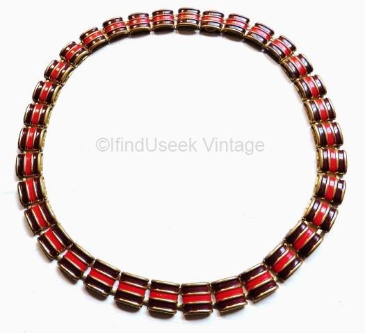 vintage 1930s art deco burgundy and red enamel necklace