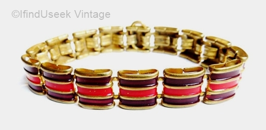 vintage 1930s burgundy and red enamel art deco braceleet