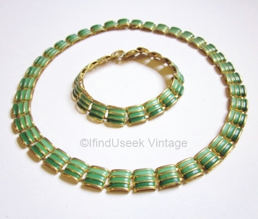 vintage 1930s geometric green enamel art deco necklace and bracelet set