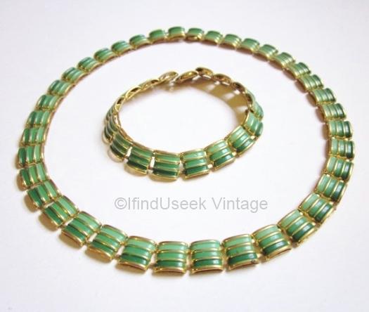 vintage 1930s geometric green enamel art deco necklace and bracelet set