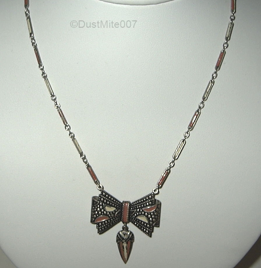 vintage 1930s enamel bow necklace v1