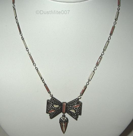 vintage 1930s enamel bow necklace v1