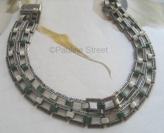vintage art deco green and white enamel chain bracelet