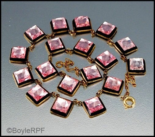 vintage pink and black Vauxhall glass art deco necklace