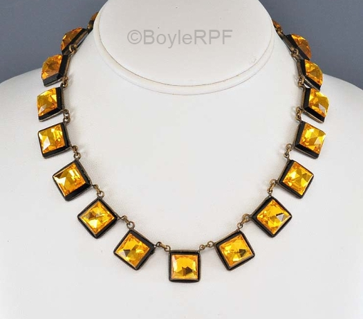 vintage gold and black Vauxhall glass necklace
