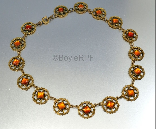 amber gold Vauxhall glass filigree necklace